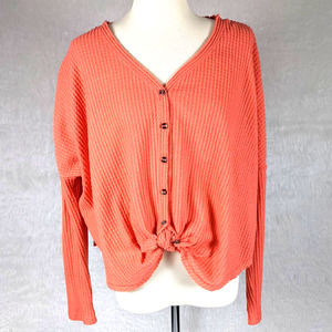 Urban Outfitters Coral Waffle Knit Blouse Small